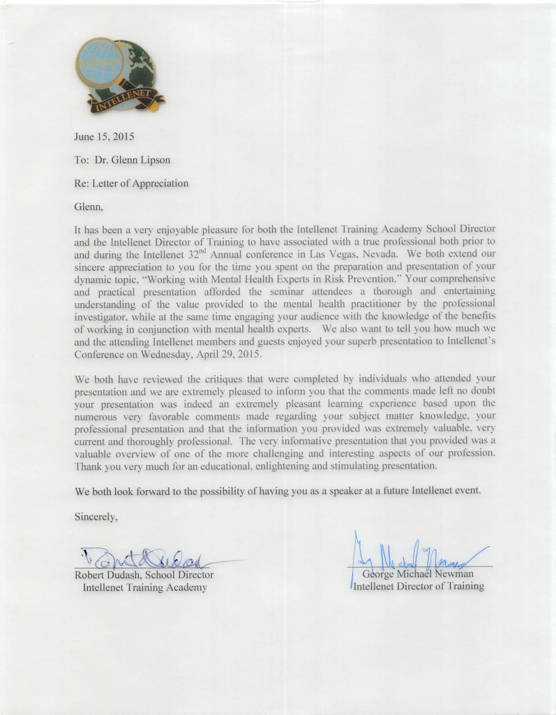 Letter of Appreciation: Intellenet 32nd Annual Conference